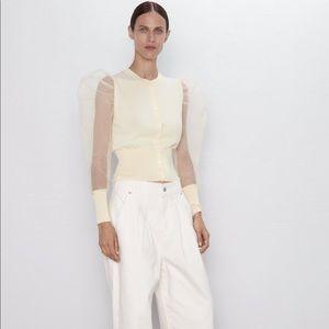 NWT Zara yellow tulle cardigan